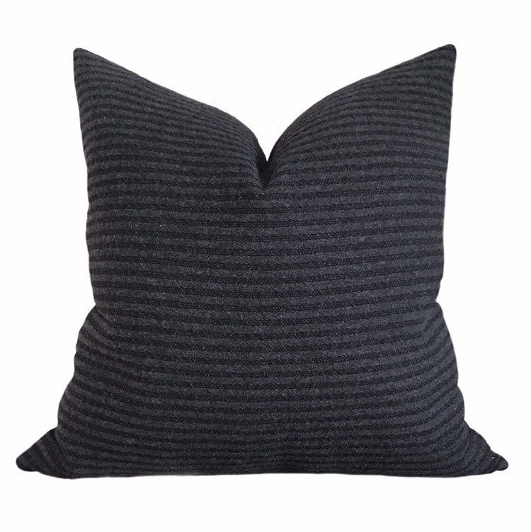 Black Charcoal Striped Throw Pillow Black Decorative Pillow