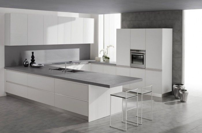 Kitchen Design  White Cabinets White Chairs Grey Floor White Grey - k chenzeile l form