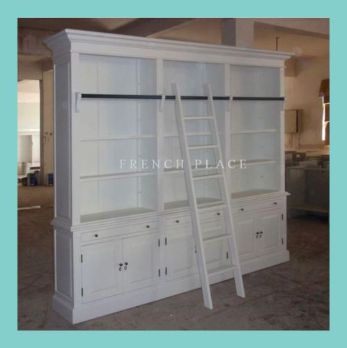 IN-STOCK-NEW-French-Provincial-Hamptons-Style-3-Bay-Bookcase-Cabinet-Ladder