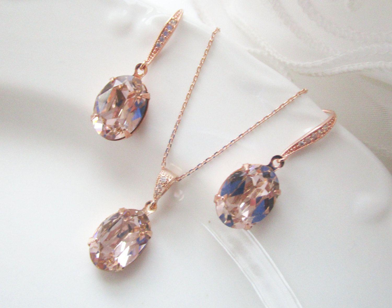 Bridal Jewelry Set Bridal Earrings Bridal Necklace Blush Rose