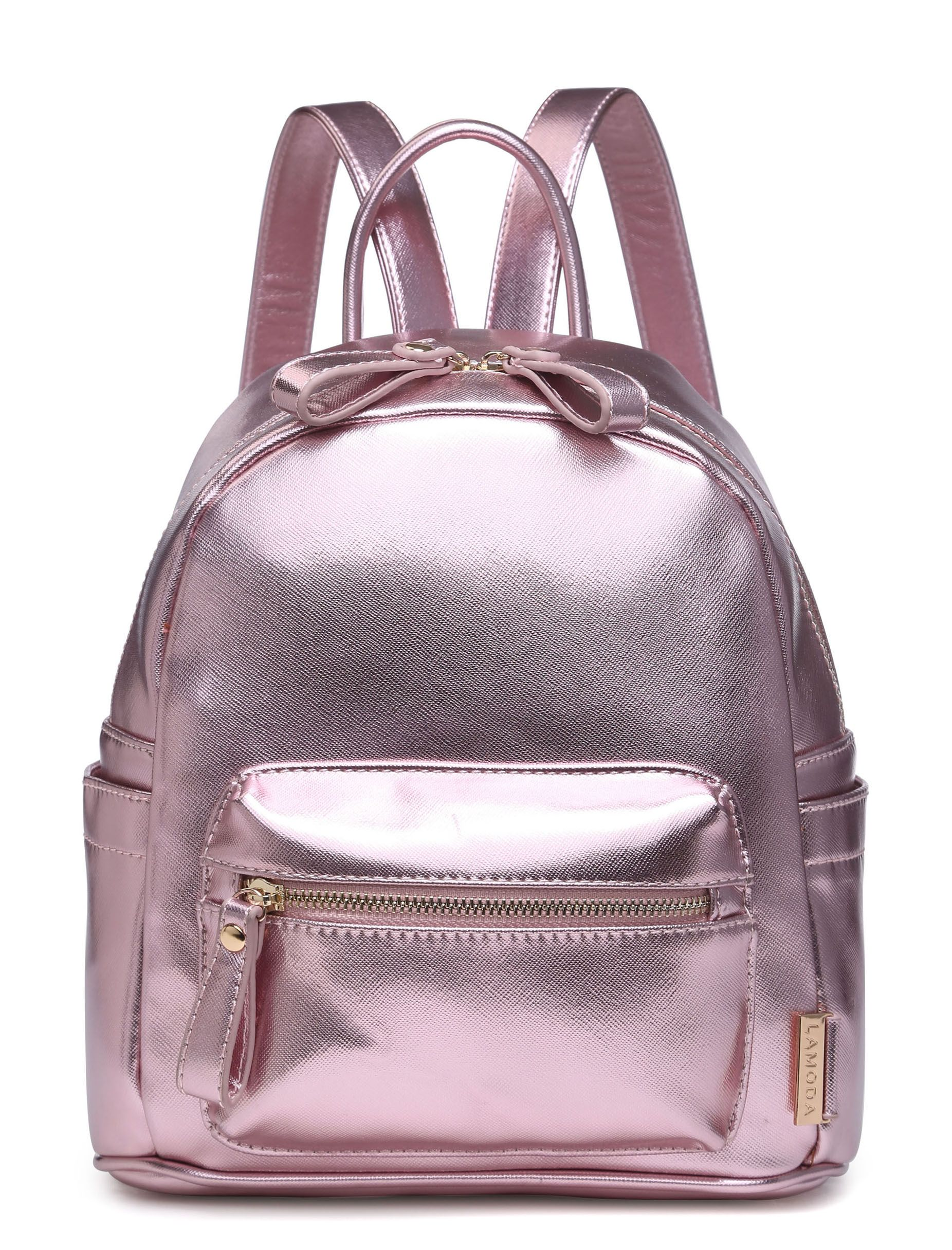 Throw some rays with our metallic SWEETEST TABOO rose gold backpack. Keep reinin' cuties!○ Metallic faux leather backpack○ High quality textured faux leather- 100% polyurethane, 100% polyester lining○ Adjustable straps○ Fully lined with inner sections○ Zip fastening closure with exterior zip pocket○ Gold hardware○ Measurements : H:27 x D:13 x W:24 cm