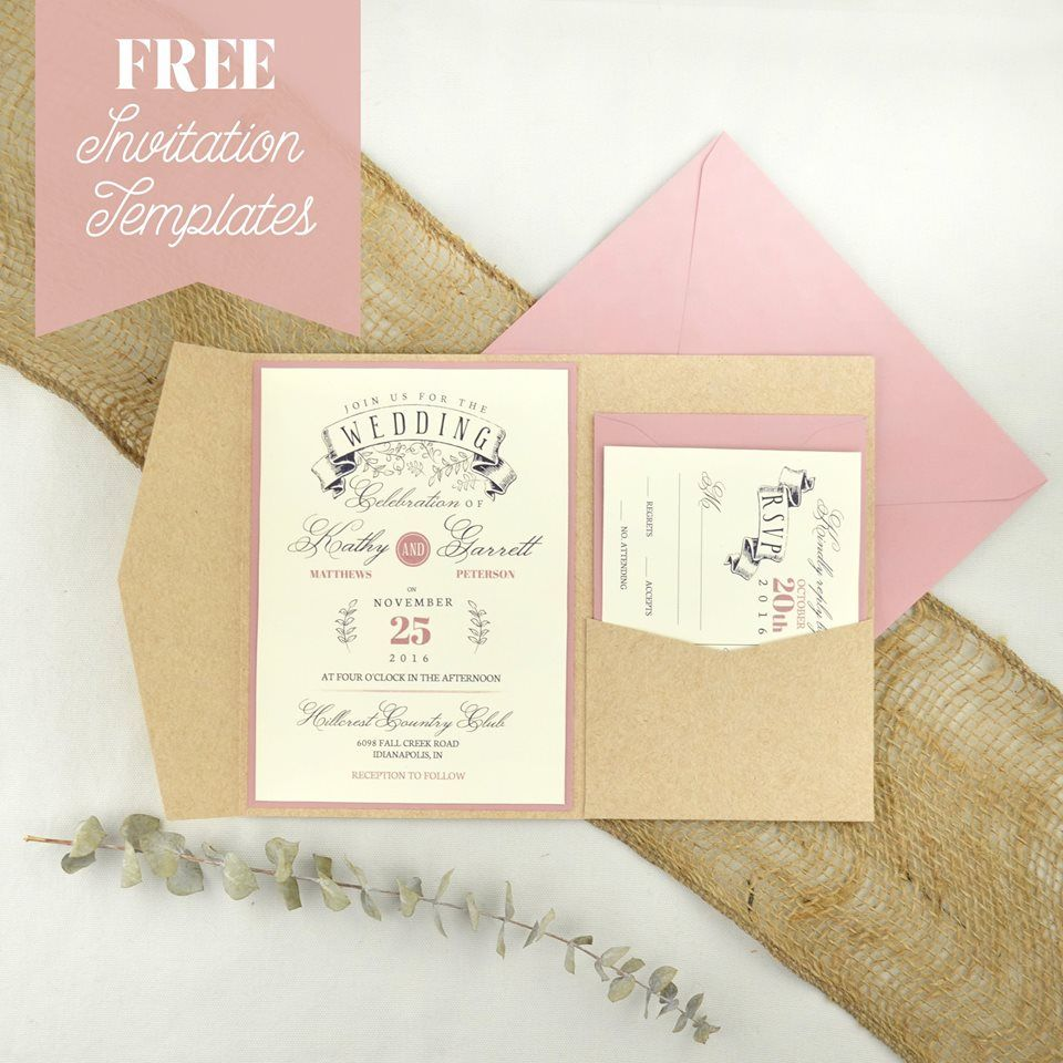 free online printable wedding thank you cards%0A Cards and Pockets offers FREE wedding invitation templates that make a  great pair with Signature Plus pockets and envelopes