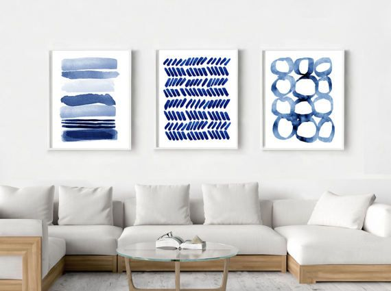 Abstract watercolor prints set indigo blue stripes circles dashes paint strokes dots minimalist art large wall