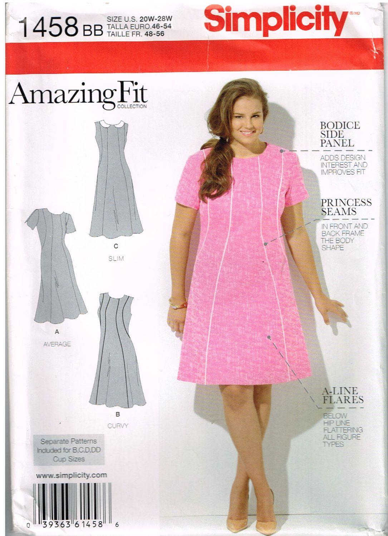 Simplicity 1458, Women\'s Dress by Amazing Fit, Size 20W,22W,24W,26W ...