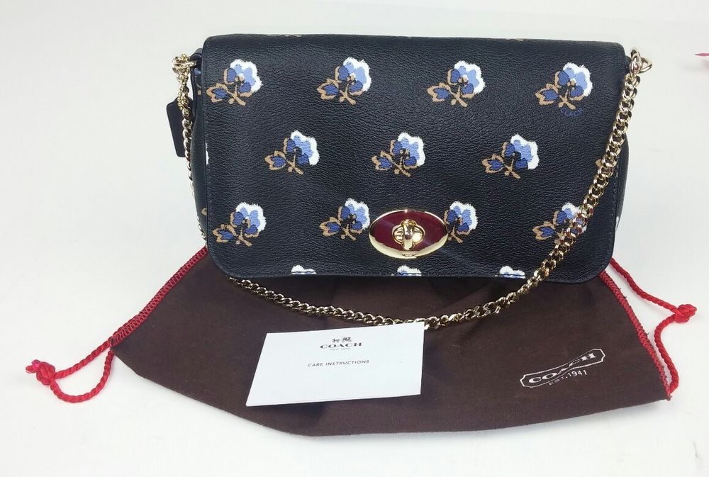 Coach Shoulder Bag Purse Black Blue Flowers Gold Tone Chain