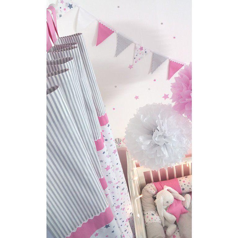 Kinderzimmer Wandsticker Sterne rosa/grau 68teilig