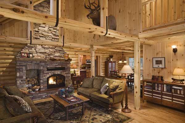 Log Home Fireplace And Beams