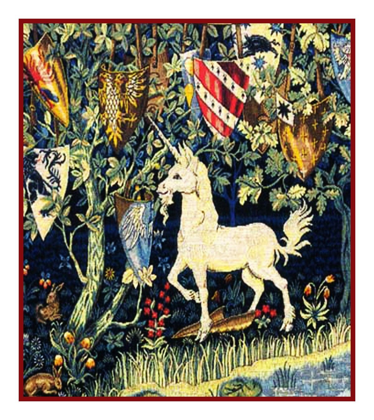 Medieval Lady Unicorn Trees detail Blue Background Counted Cross Stitch Pattern