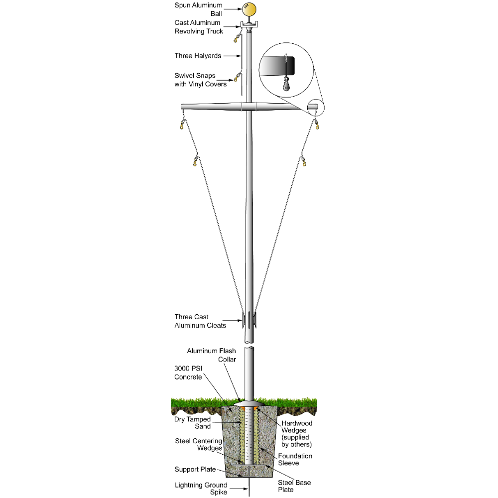 Single Mast Nautical Series With Yardarm 40ft Satin Pole In 2020 Masts It Cast Nautical