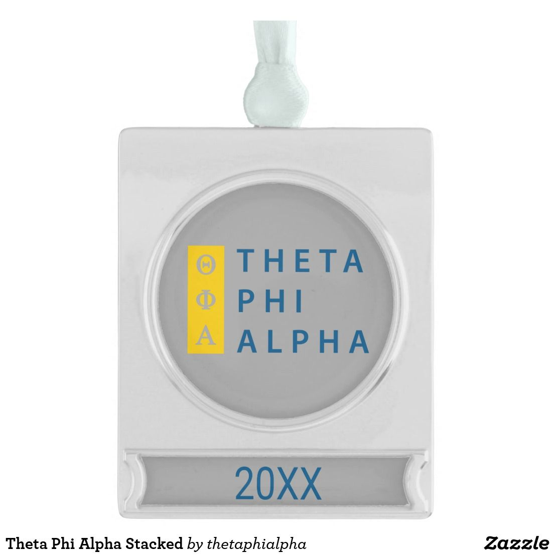 Theta Phi Alpha Stacked Silver Plated Banner Ornament Zazzle Com Theta Phi Alpha Theta Phi