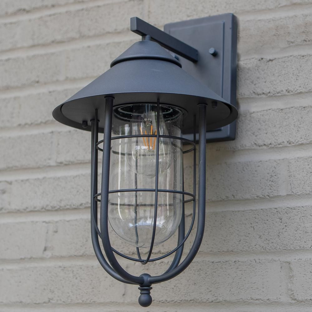 Home Decorators Collection Wisteria Collection 1 Light Sand Black Outdoor Wall Lantern Sconce With Clear Glass Shade 17547 In 2020 Outdoor Wall Lantern Outdoor Walls Wall Lantern