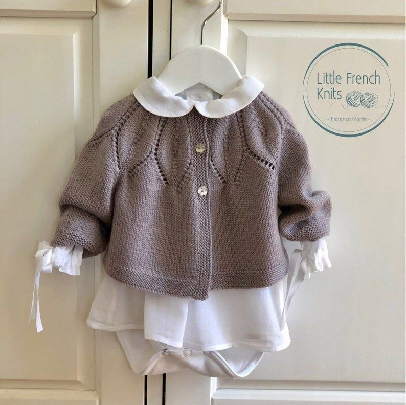 Photo of Knitting Pattern Baby Wool Cardigan Instructions in English PDF Sizes Newborn to 24 months