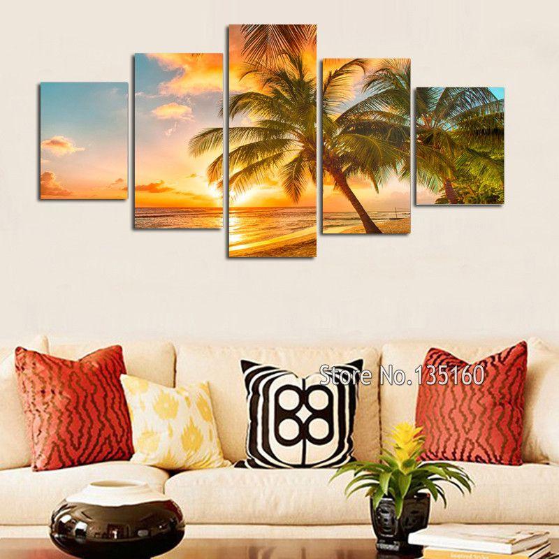 Home decor canvas beach paintings on wall decor sunset ocean wall art painting set modern seascape for house 5 panel no framehigh quality beach painting