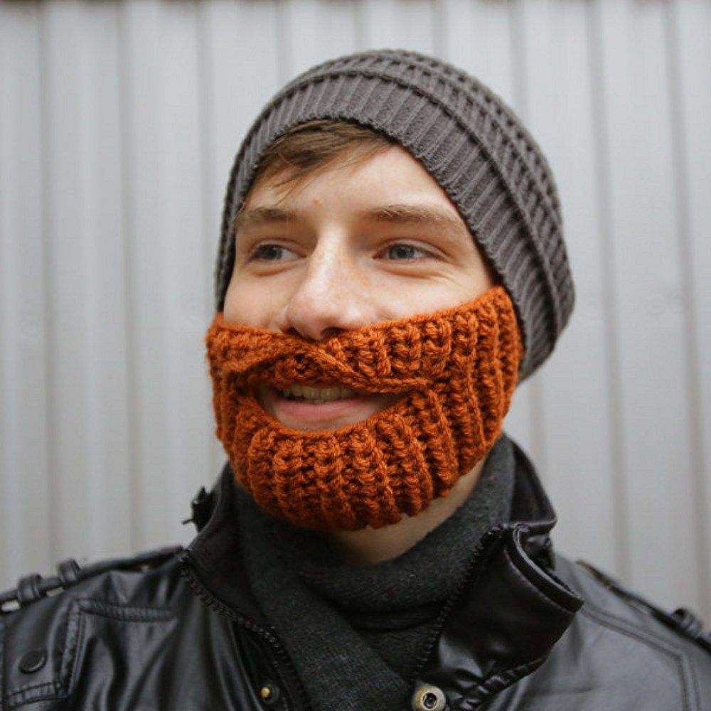 15f52ce7647 Beard Hat Crochet Handmade Winter Outdoor Hat and Face Warmer with  moustache Knitted beard hat Funny Hat