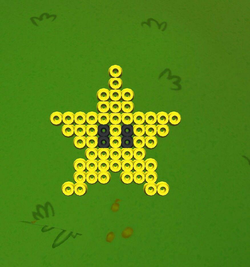 Hama bead de la estrella de Super Mario! Plantilla. 💓 | Hama Beads ...
