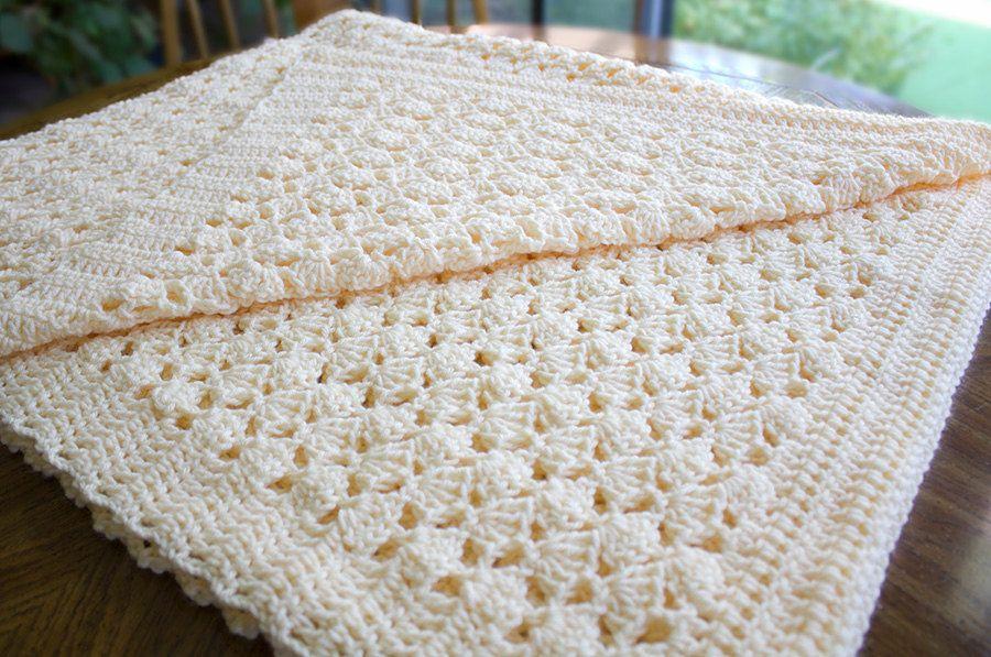 Crochet Afghan Blanket Throw Cream Creme Beige Golden Butter Peach ...