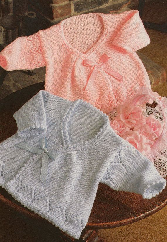 Photo of knitting pattern PDF for baby girls wrap cardigans in sizes 14 16 and 18 inch chest newborn premature