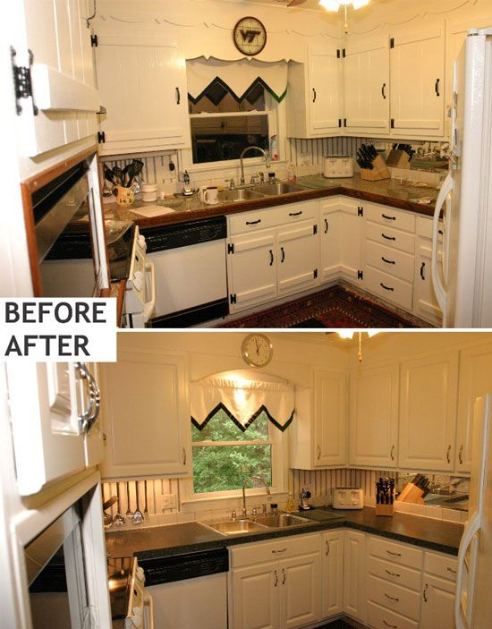 Kitchen Painting Laminate Cabinets Before And After L