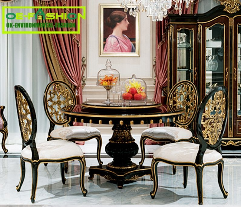 Oe Fashion Elegant Round Dining Table Sets With Rotating Centre Dinning Tables Set Wood