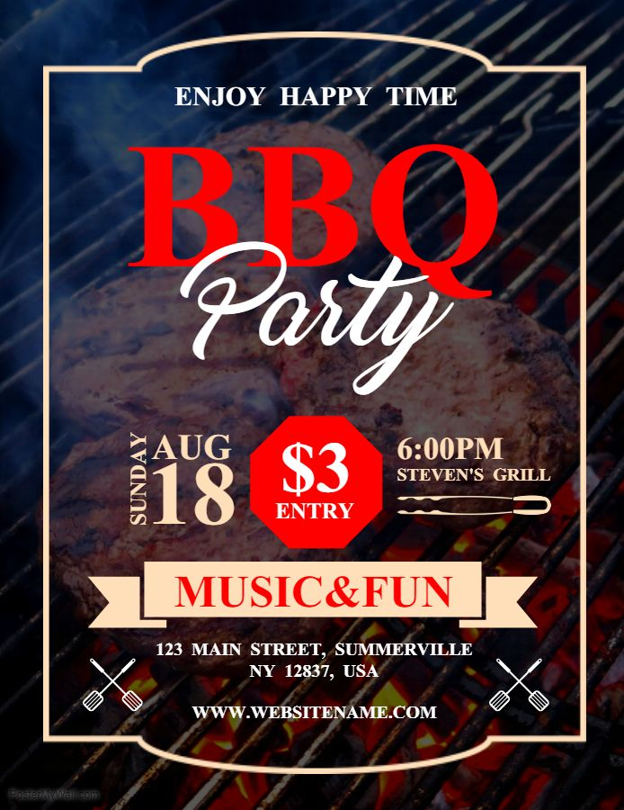 Creative Barbecue Music Event Invitation Custom Flyer Template