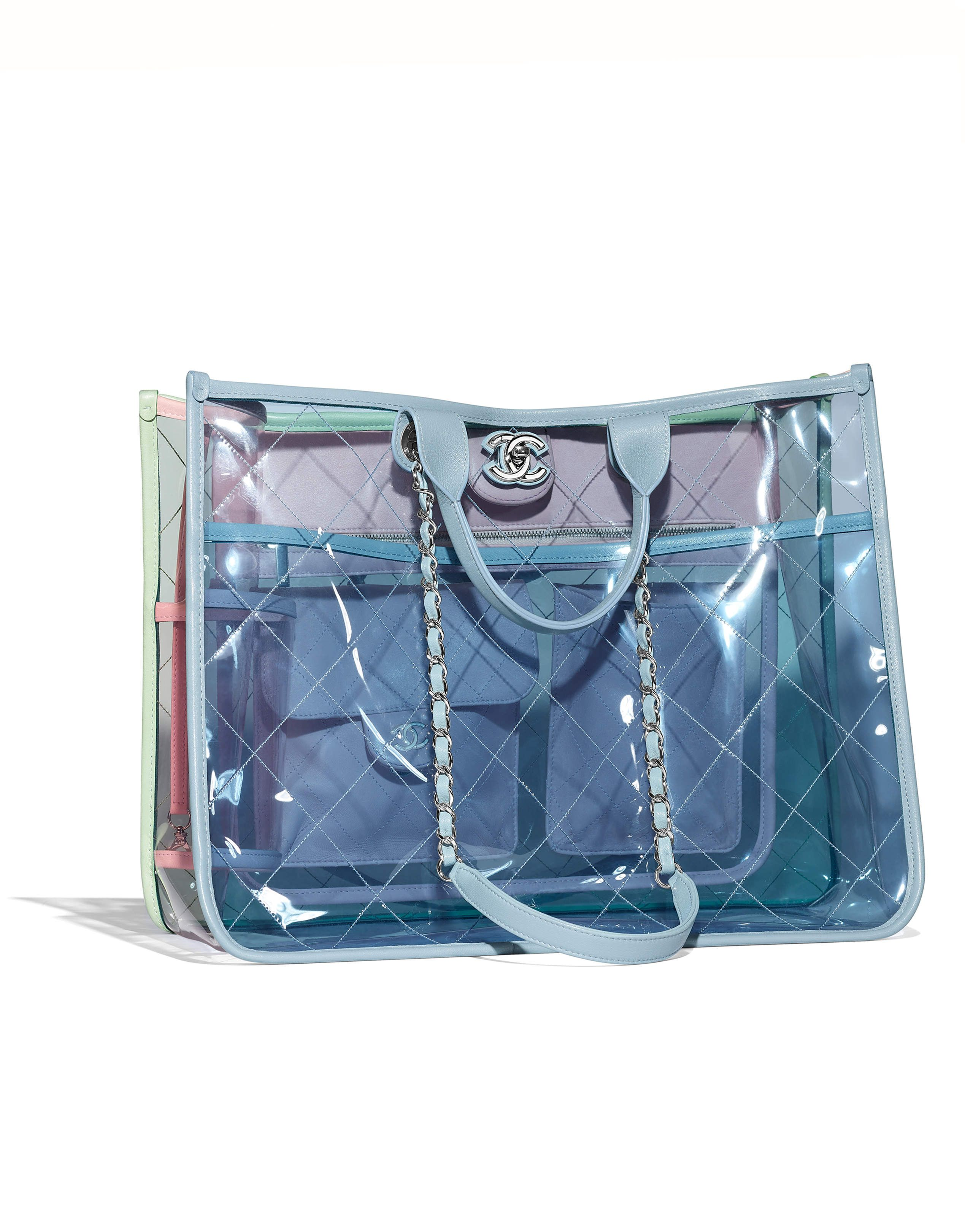 75e8519b6 Chanel - SS2018 | Blue, green & pink PVC large shopping bag | BAGS ...