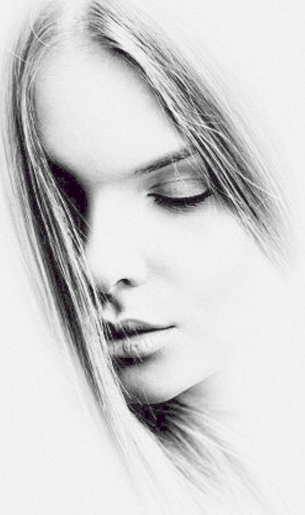 Arte Rosto Mulher Desenhando Retratos Coisas Para Desenhar