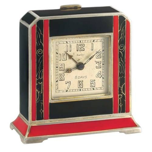 artdecoandartnouveau Art Deco Silver and Red and Black Enamel    (Art Deco) is part of Silver Home Accessories Art Deco - artdecoandartnouveau Art Deco Silver and Red and Black Enamel 8 Day Desk Clock, Cartier Mechanical, the cutcornered rectangular case applied with black enamel, centering a squareshaped silvertone