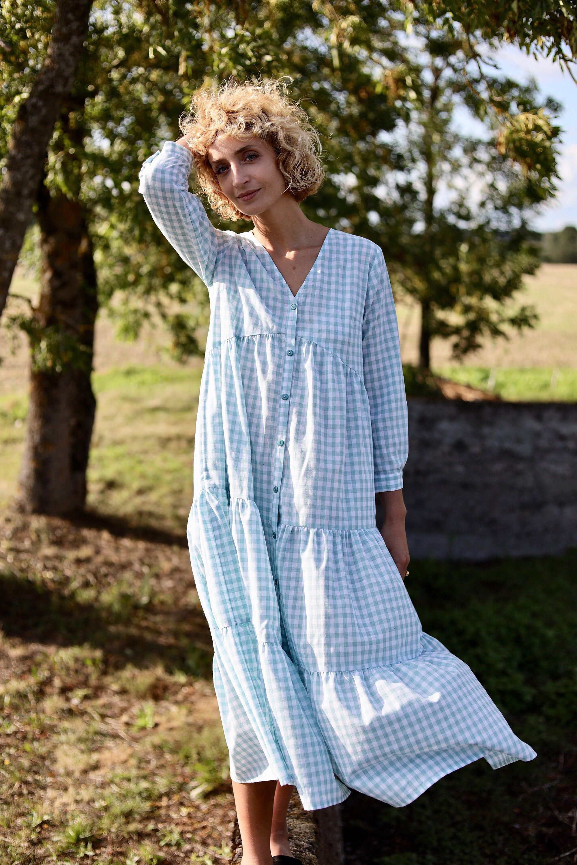 Cotton Boho Dress Checkered Cotton Dress With Long Sleeves Offon Clothing Cotton Boho Dress Long Sleeve Cotton Dress Boho Dress [ 3000 x 2000 Pixel ]
