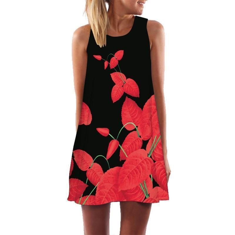 33d03fc26b Floral Printed Flamingo Dress Women Feather Elegant Graceful Beach Dress  Vestidos Robe Femme Mini Dress Slim