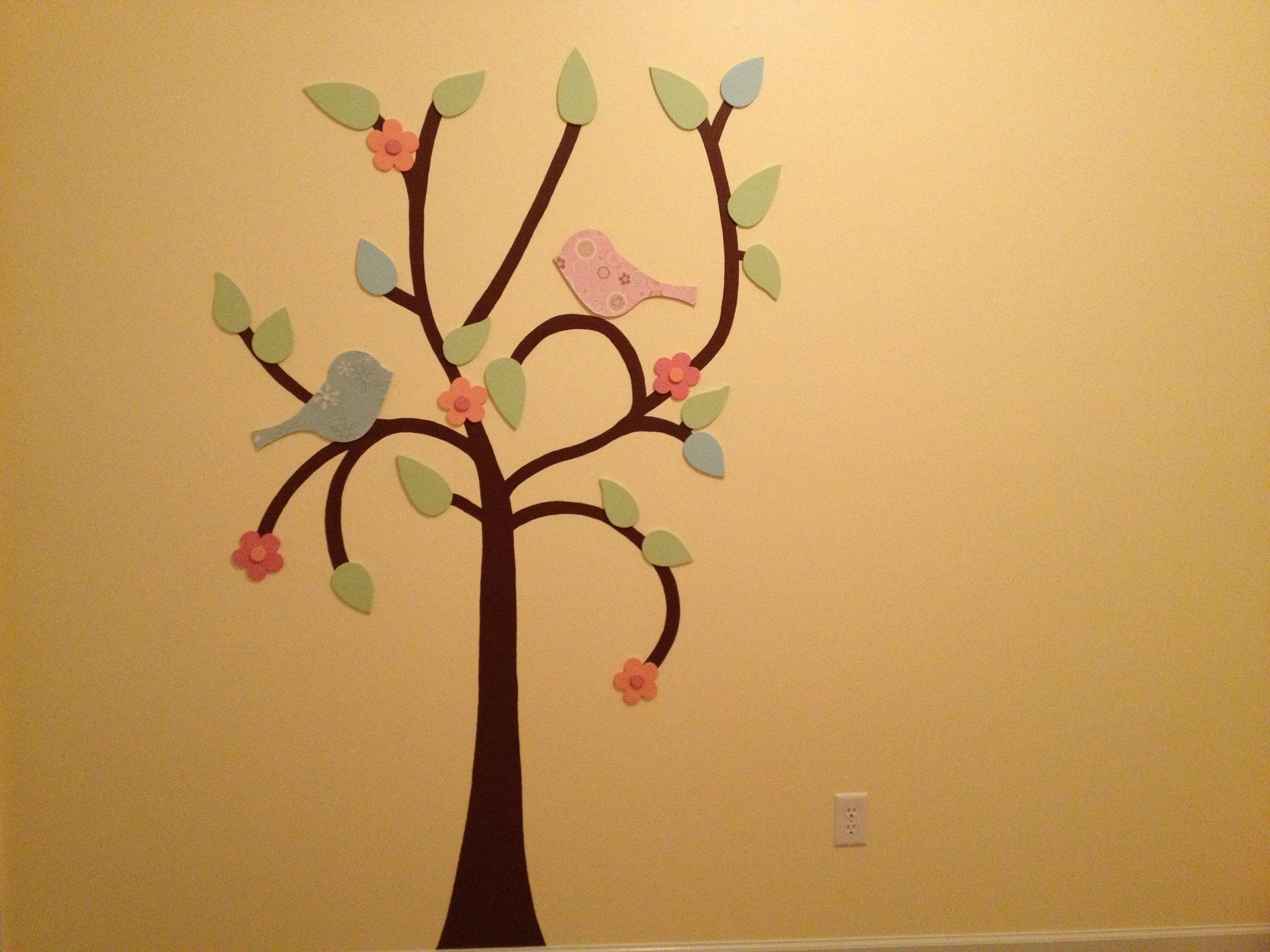 Bananafish Love Birds Themed Nursery. Hand painted tree on the ...