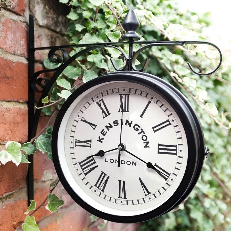 Vintage Wall Clock Outdoor Garden Mounted Decor Balcony Hanging