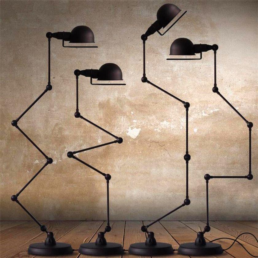 Nordic Vintage Led Floor Lights Adjustable 4 Arms Floor Lamps Metal Standing Lamp For Study Room Foy Industrial Floor Lamps Floor Lamp Contemporary Floor Lamps