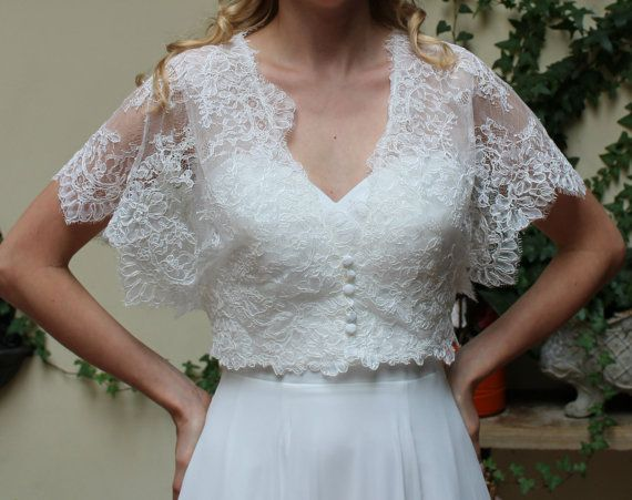 Wedding lace bolero, Jacket Bridal short sleeve Romantic bolero ...