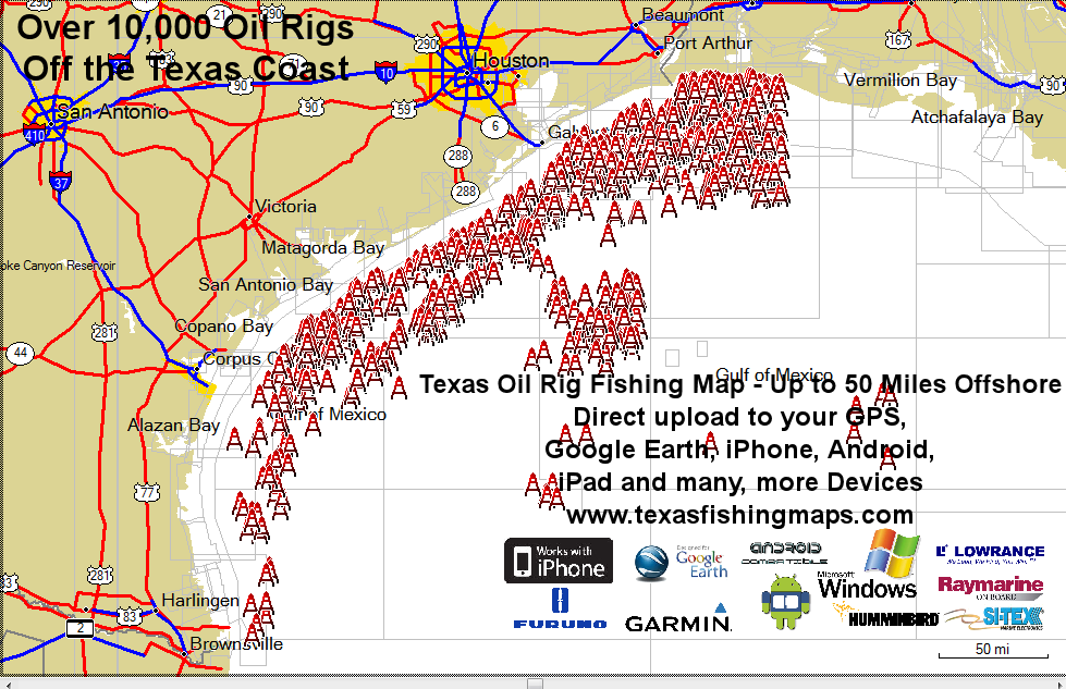Oil Rig Map   Off shore oil rigs   Oil rig, Texas coast