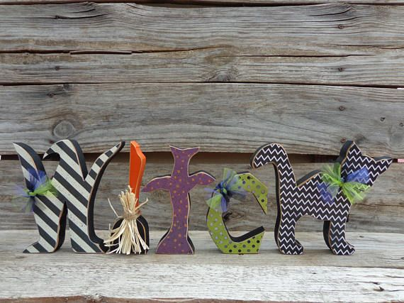 Halloween Decor- Fall Decor- Witch Decor-Witch Letters w/black cat