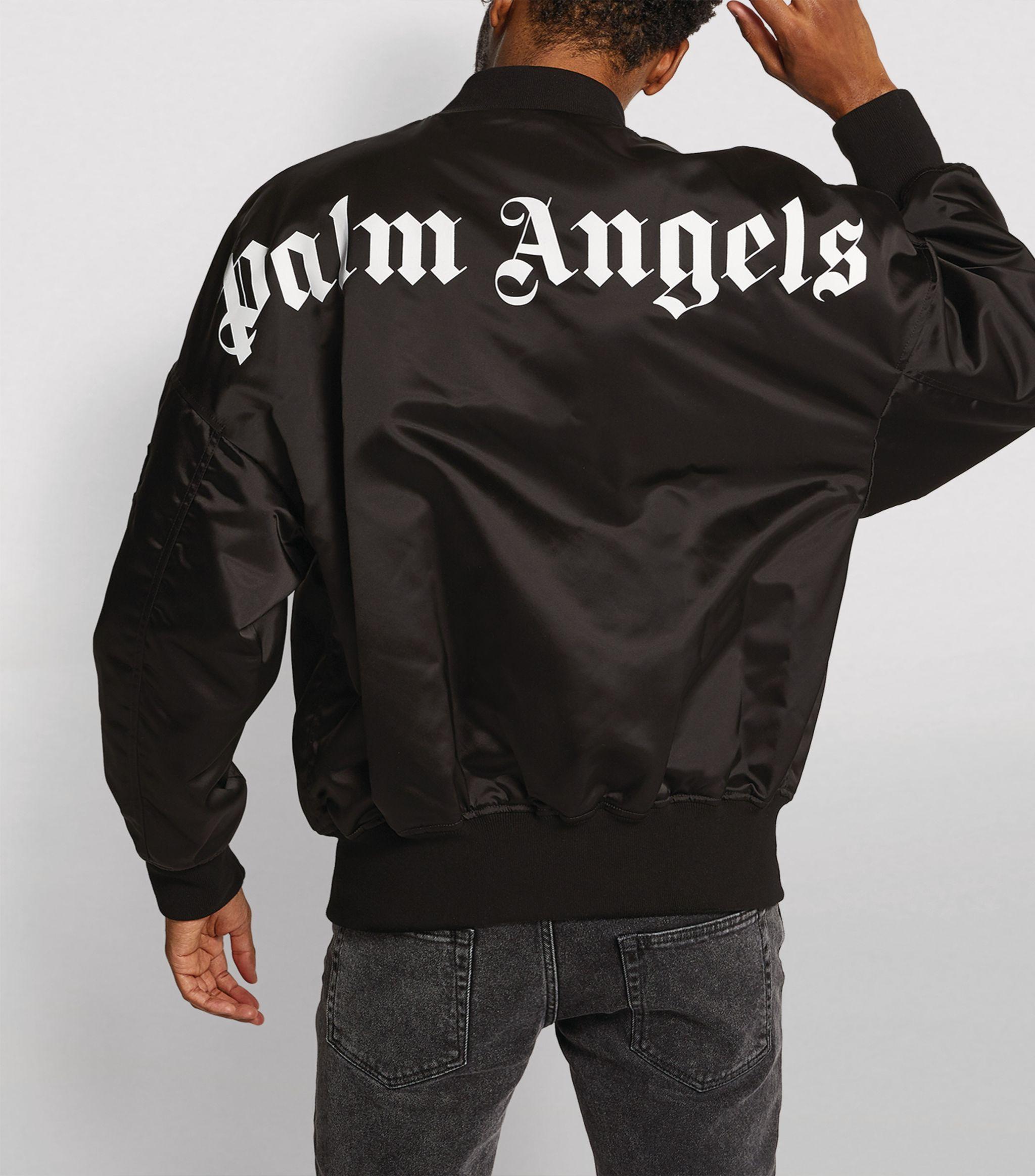 Palm Angels Black Logo Bomber Jacket Harrods Uk Ad Ad Black Logo Palm Angels Harrods Bomer Jacket Jackets Active Wear For Women [ 2328 x 2048 Pixel ]