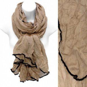 Scarf Beige Crinkle Fabric Soft Wrap w/ Black Stitched Edge @ beachcats bargains    http://beachcatsbargains.ecrater.com/