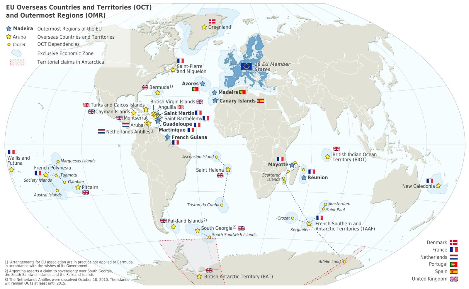 European Union overseas territories | mapmania | British ...