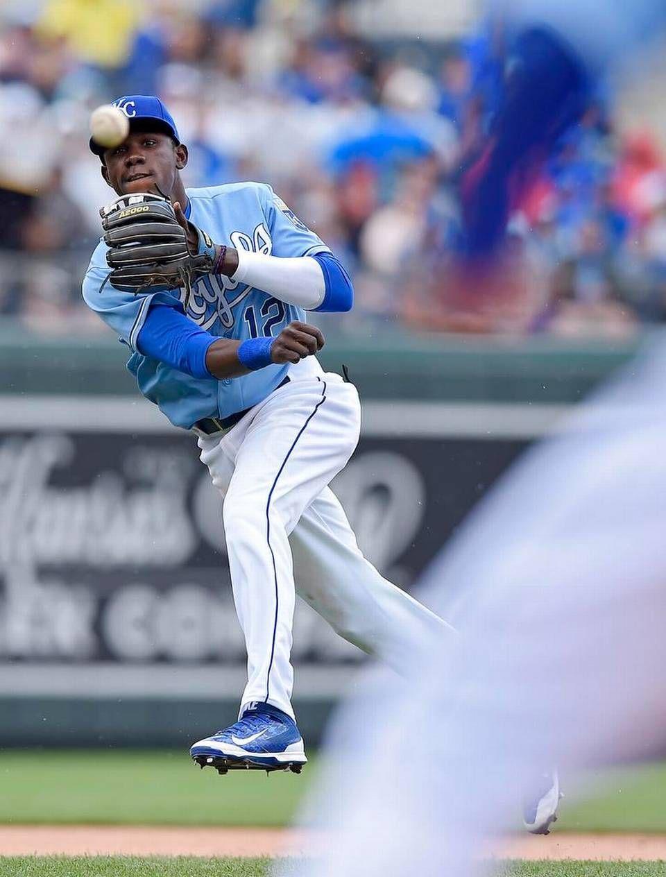 Kansas City Royals shortstop Orlando Calixte (12) fields a
