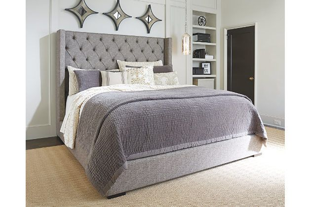 Master bedroom inspiration gray sorinella queen upholstered bed view 1 erik 39 s and amy 39 s place Master bedrooms with upholstered beds