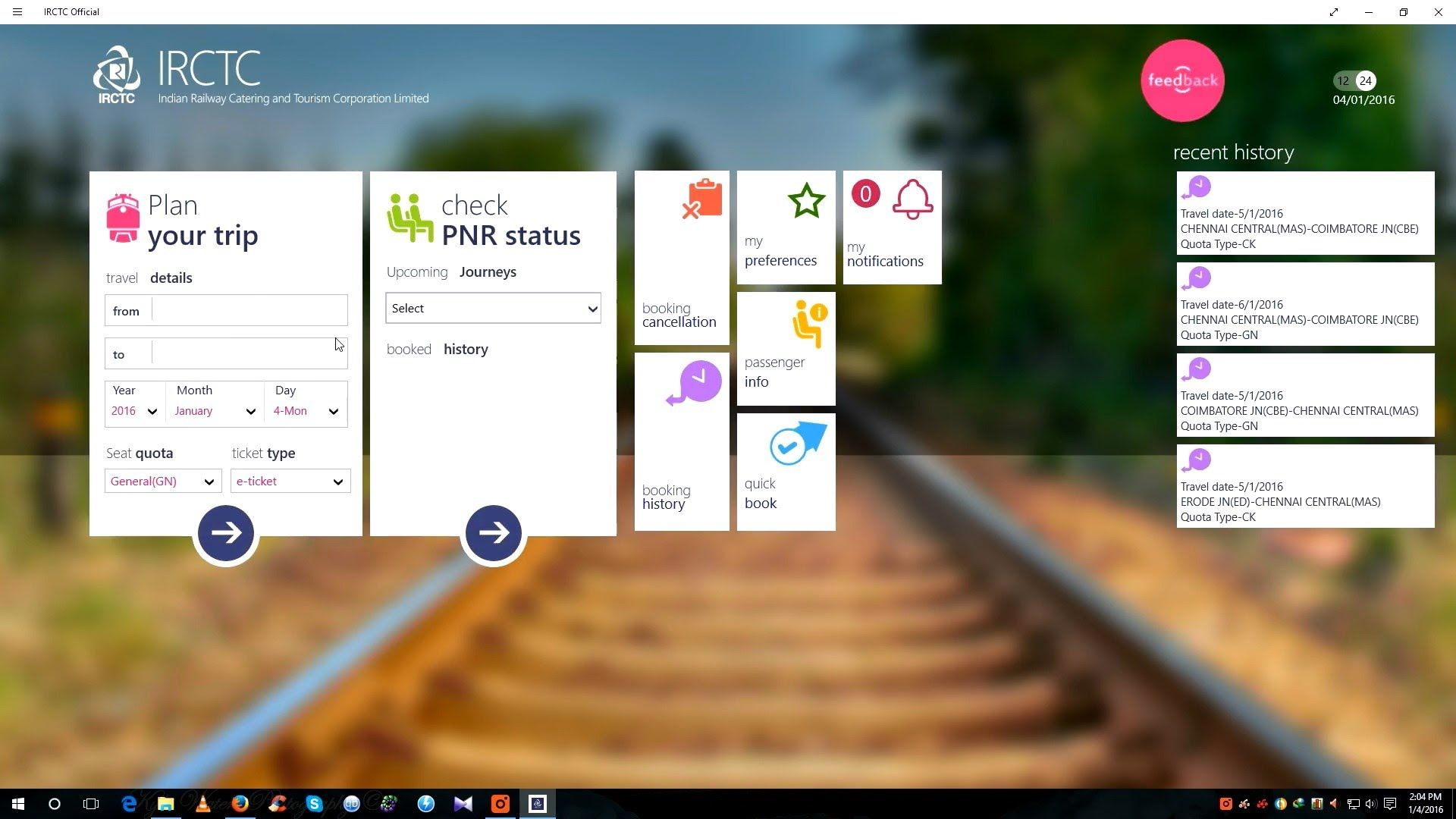 IRCTC App for Windows 10/Windows 8.1 PC/Mobile Neat