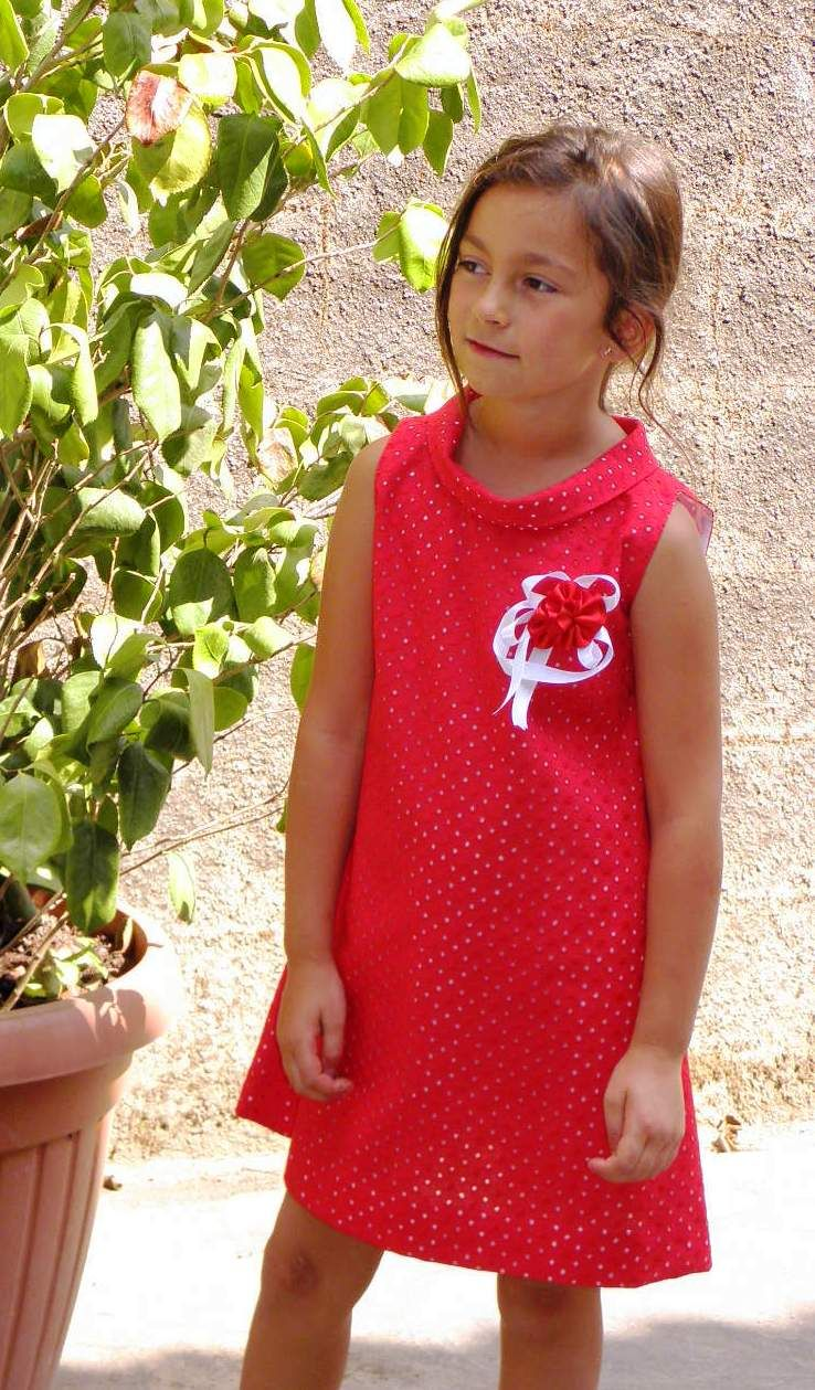 Vestido tejido perforado rojo