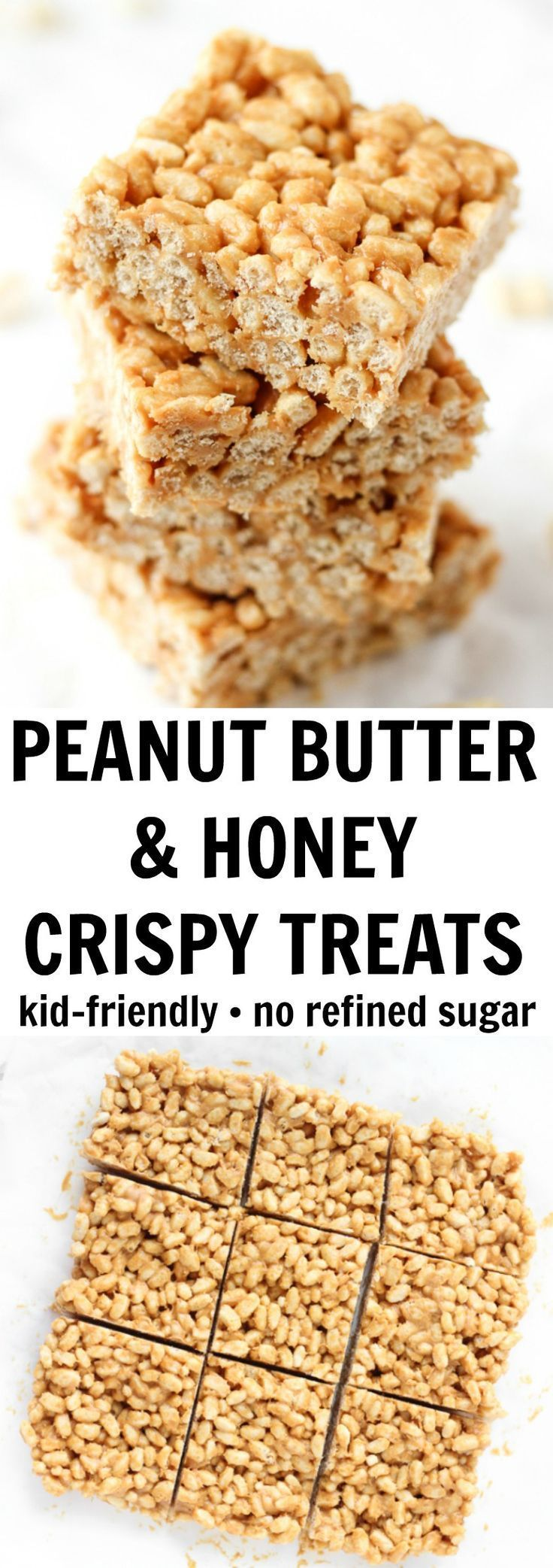 These peanut butter crispy treats have NO refined sugar and just three simple ingredients! #crispytreats