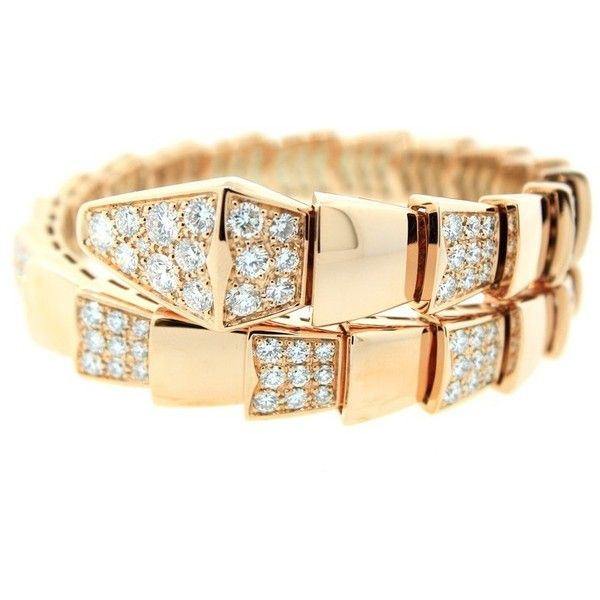 Pre Owned Bulgari Serpenti 18kt Pink Gold Bracelet 32 295 Liked On Polyvore Featuring Jewelry Pink Gold Bracelet Pink Gold Jewelry Pave Diamond Bracelets