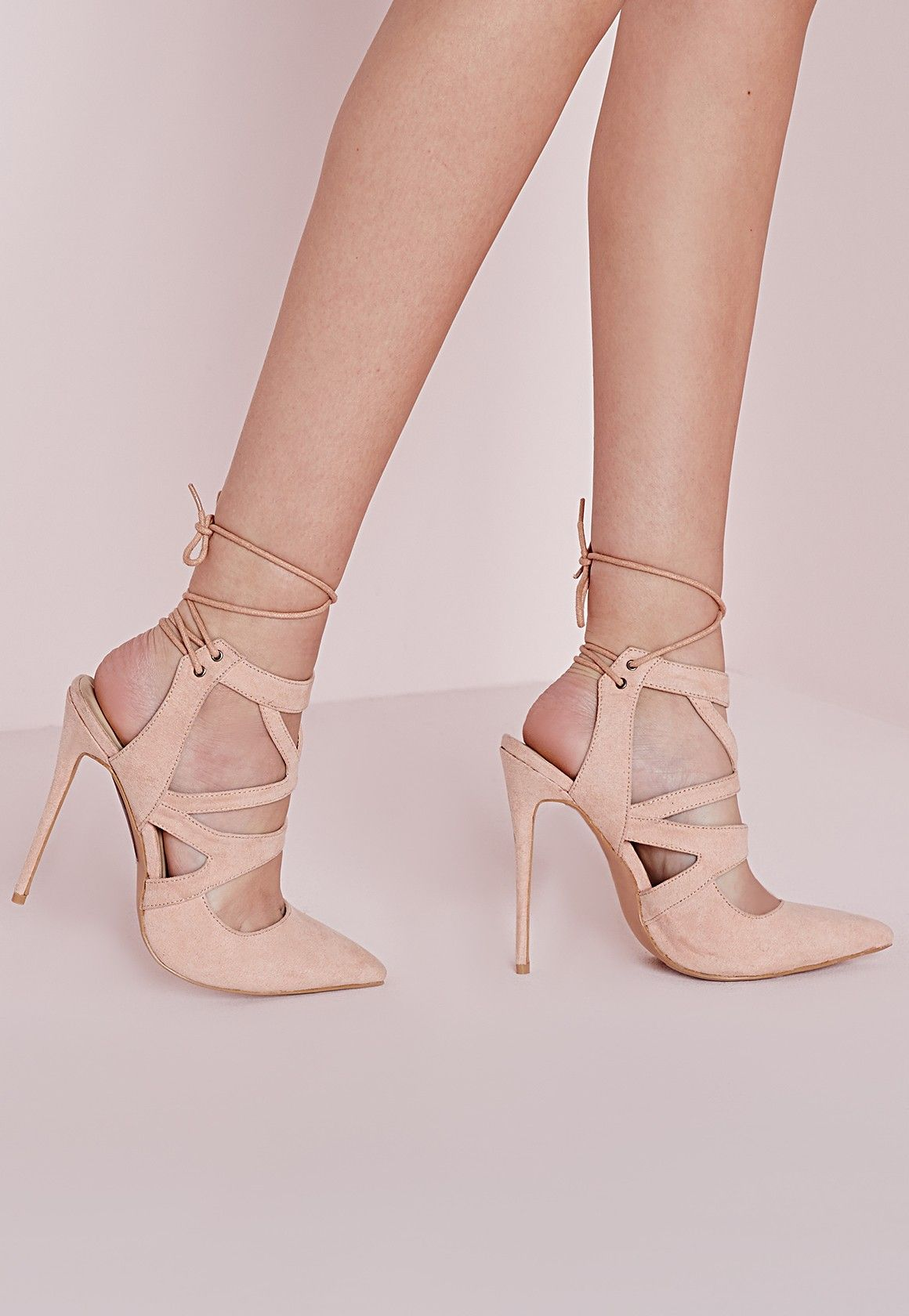 Nude shoes for women with tie