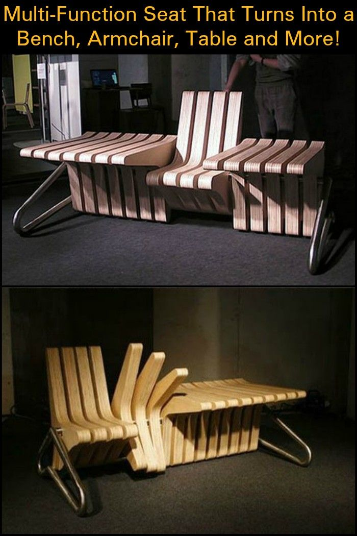Multi Function Seat That Turns Into A Bench, Armchair, Table And More! |  Armchairs, Bench And Furniture Ideas