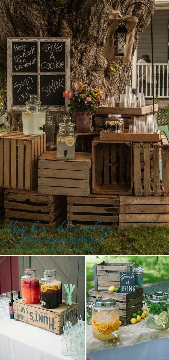 Cajas de madera en bodas coctel ideas bodas pinterest for Bar madera rustica