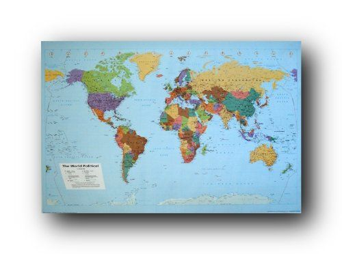 Amazon world map political terrain art poster print amazon world map political terrain art poster print 24x36 gumiabroncs Image collections