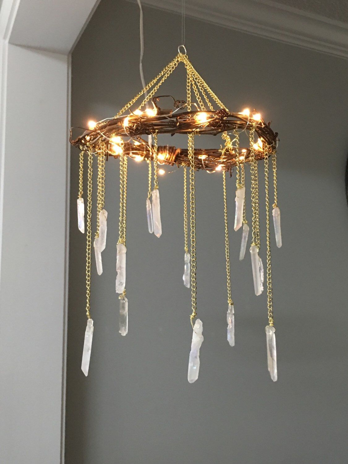 Crystal Mobile- Crystal Point Bohemian Mobile- Quartz Point Crystal Chandelier - Rustic Lighted Chandelier- Bohemian Home Decor- Wedding #rustichomedecor