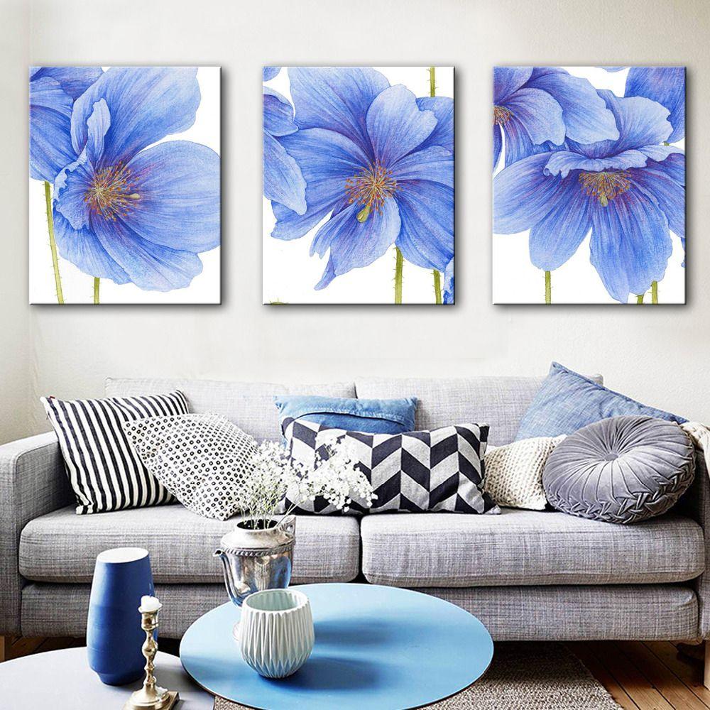 pas cher livraison gratuite e home peinture l 39 huile bleu fleurs d coration peinture ensemble. Black Bedroom Furniture Sets. Home Design Ideas